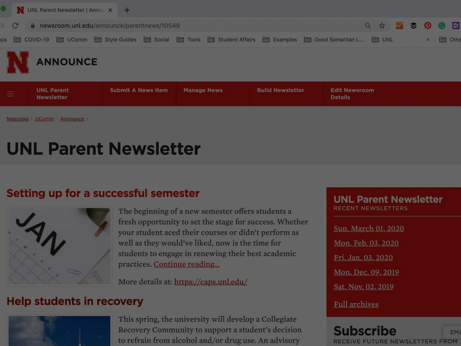 Parent newsletter webpage